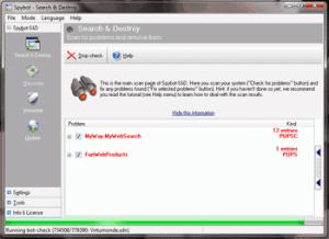 Screenshot of Spybot scanning