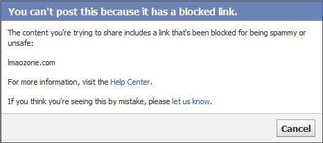 facebook url blocked message