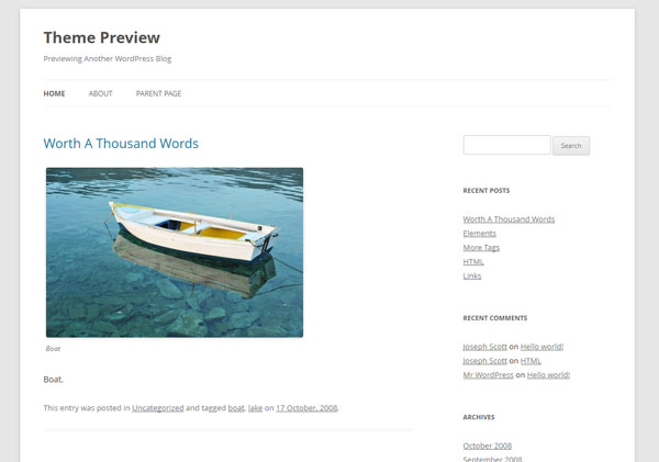 Twenty Twelve by WordPress.org