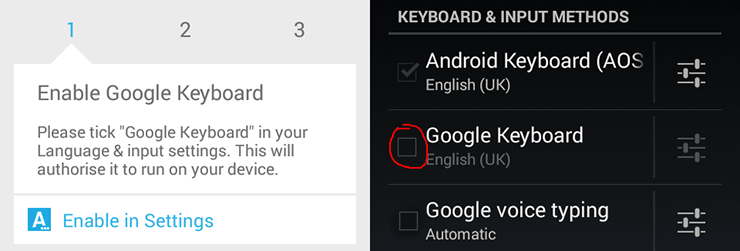 Enable Google Keyboard